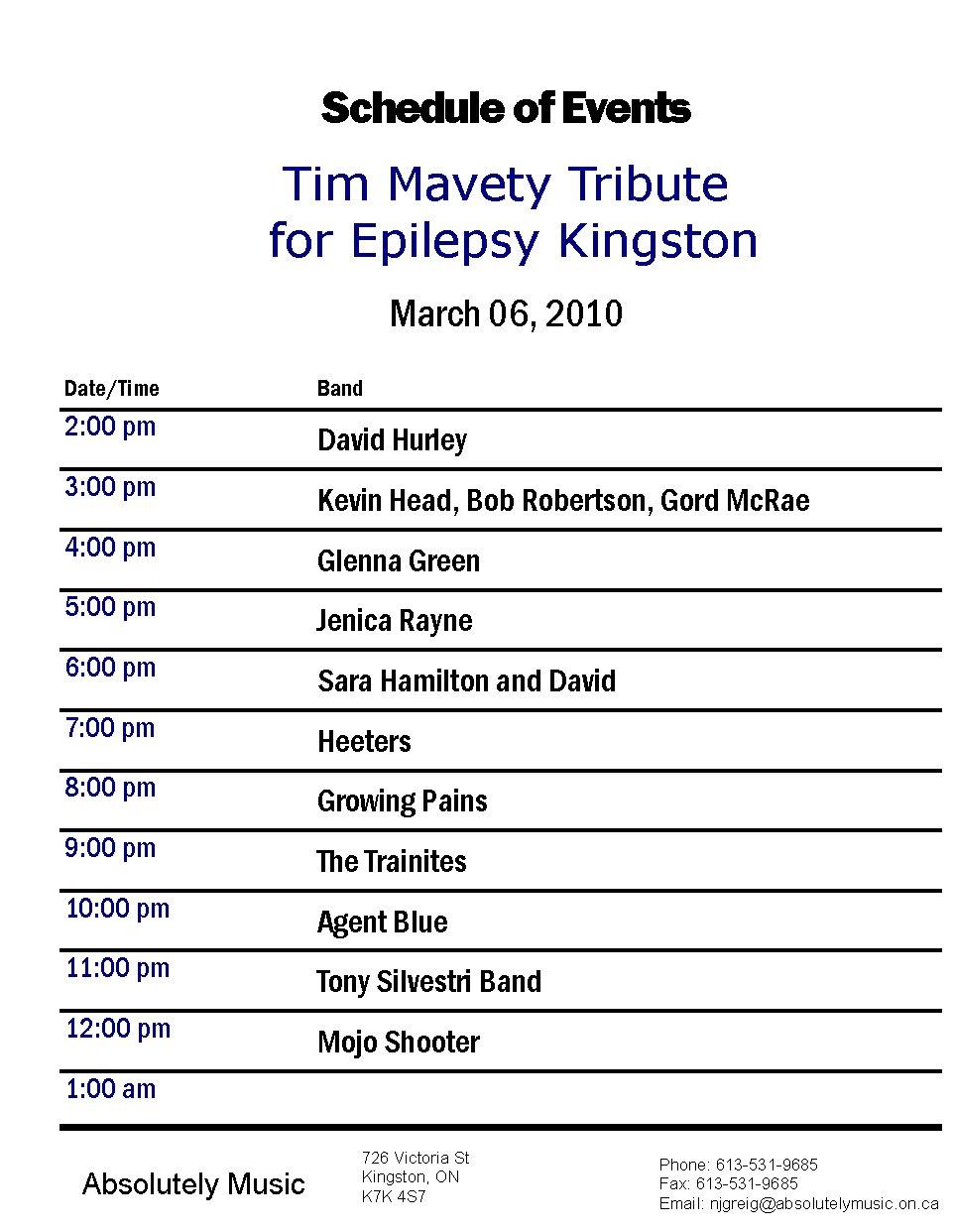 9th Annual Tim Mavety Tribute Schedule