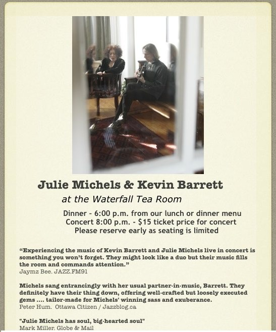 Julie Michels and Kevin Barrett - Sep 22 at The Waterfall Tea Room in Yarker