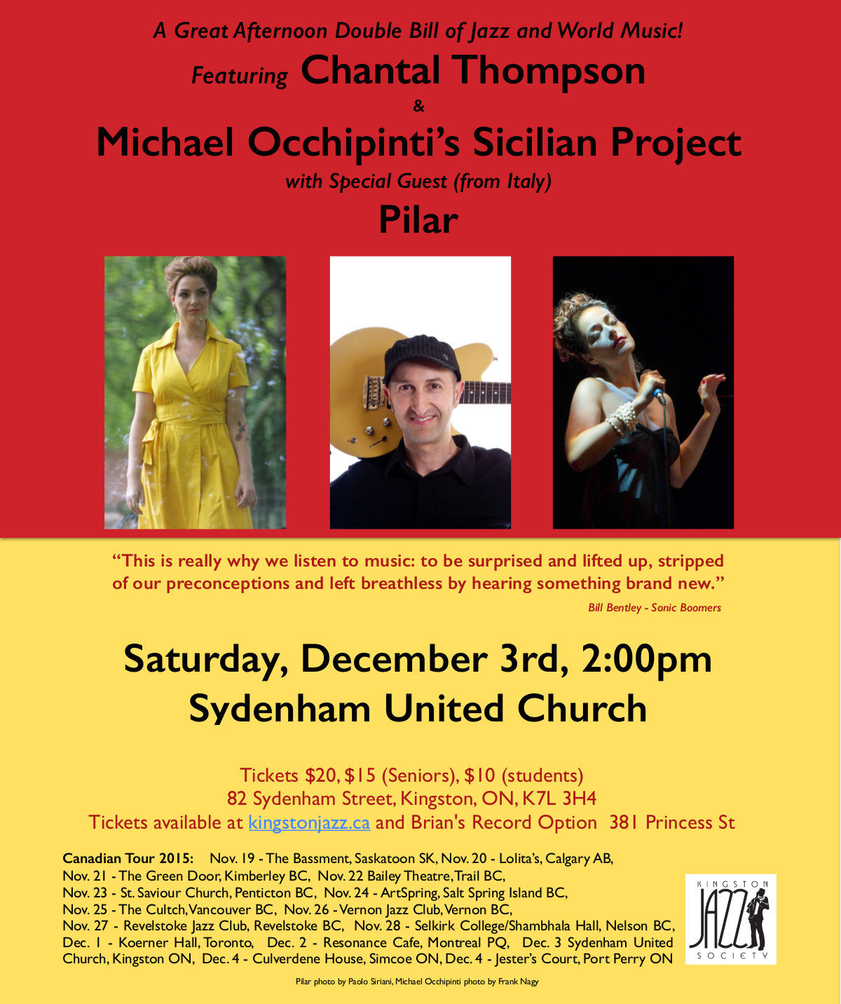 Dec 3: Chantal Thompson & Michael Occhipinti's Sicilian Project with special guest Pilar